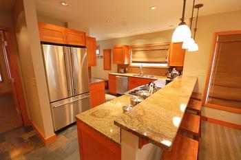 Rental kitchen at Shorepine Vacation Rentals.