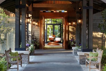 Entrance and Chakra Bowls at The Lodge at Woodloch.