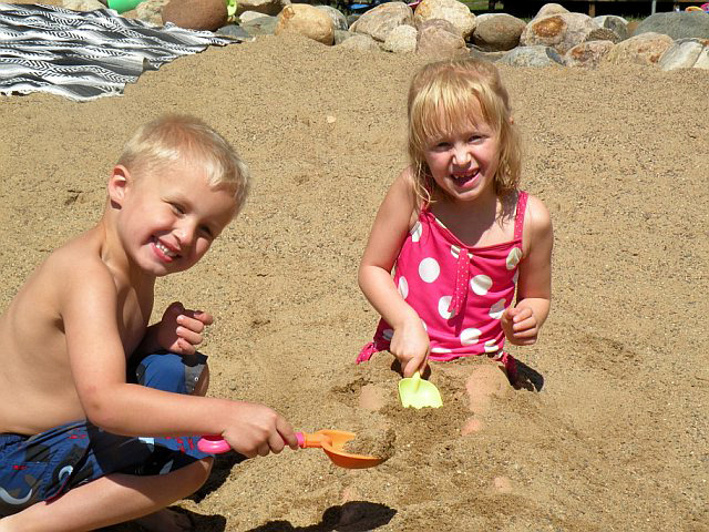 Playing on the beach at Pine Terrace Resort.