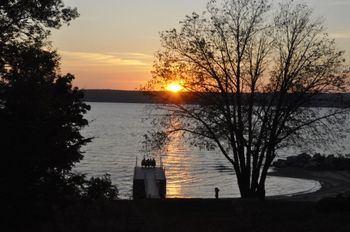 Sun set over lake at Bay Shore Inn.