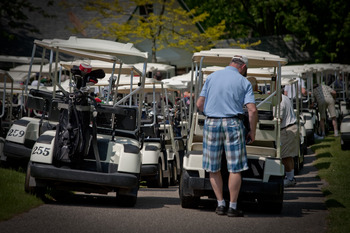 Golf carts at McGuire's Resort.