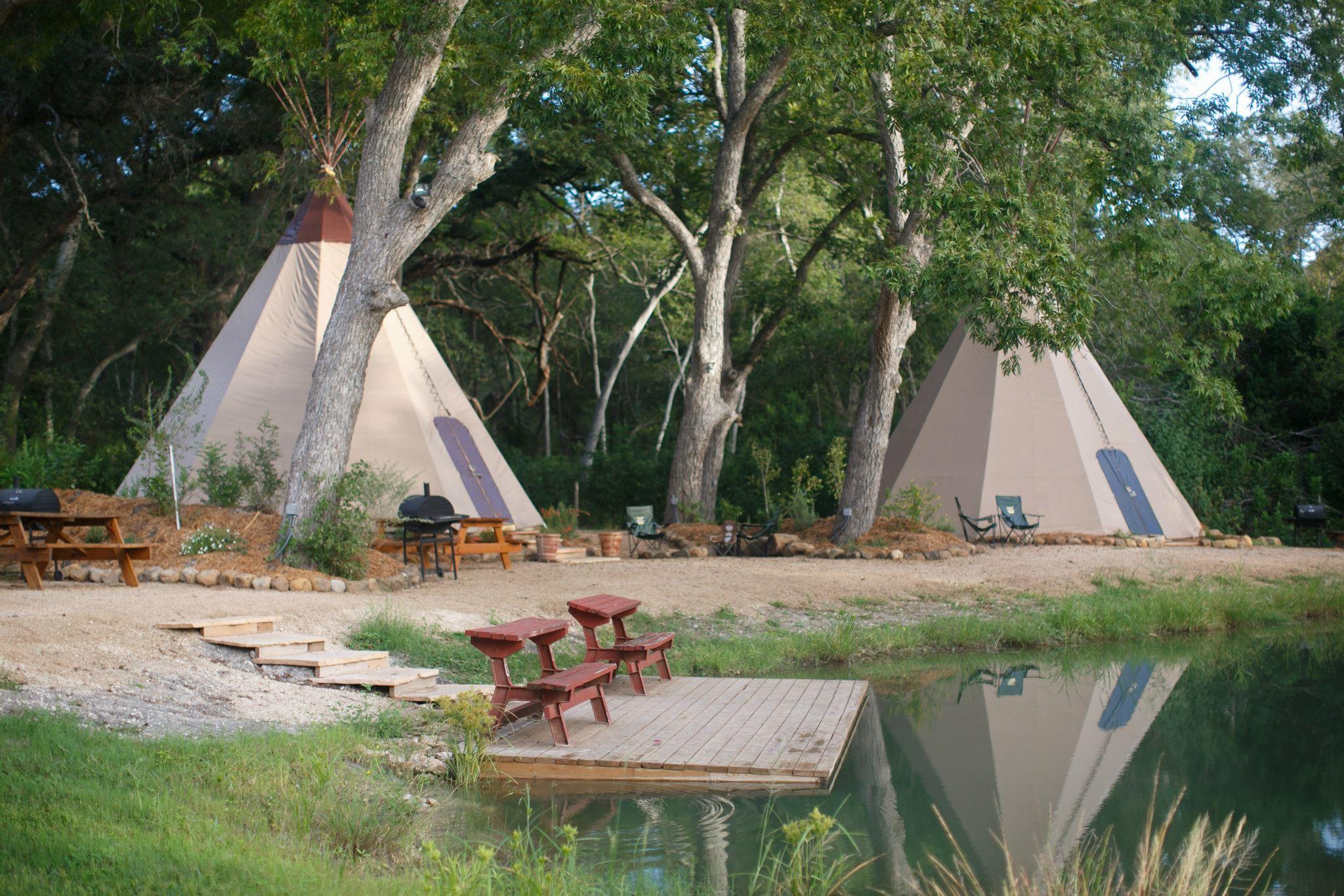 Tipis at Geronimo Creek Retreat.