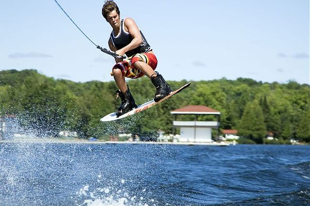 Wake boarding at JW Marriott The Rosseau Muskoka Resort & Spa.