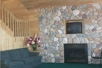 Fireplace at Gull Lake Resort.