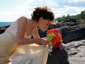 Bride at Bluefin Bay on Lake Superior.