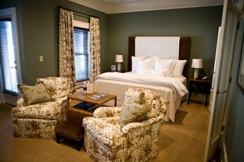Guest room at James Madison Inn.