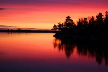 Sunset on lake at Kabetogama Lake Association.