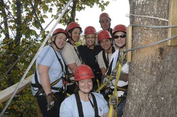 Zip line group at Greybeard Rentals.
