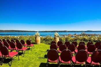 Wedding ceremony at Painter's Lodge.