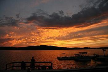 Sunset on the Lake at Bald Mountain Camps Resort