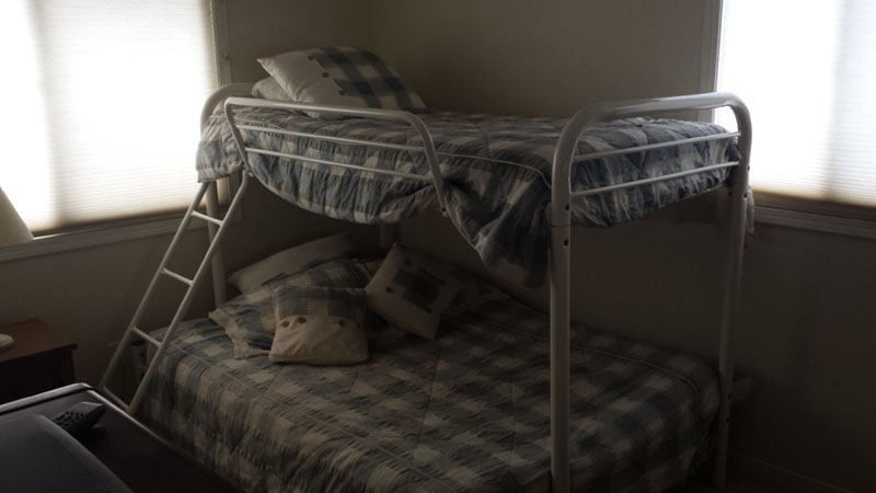 Cabin bunk beds at Cedar Valley Lodge.