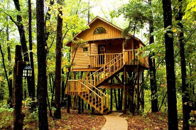 The original treehouse cottages eureka springs ar for Tree house cabins arkansas