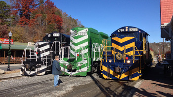 Holiday trains at Watershed Cabins.