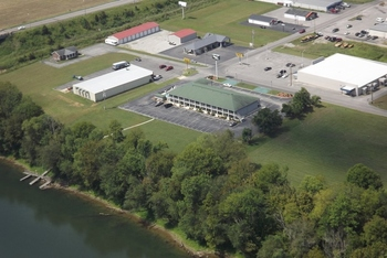 Aerial view of Riverfront Lodge Motel Burkesville.