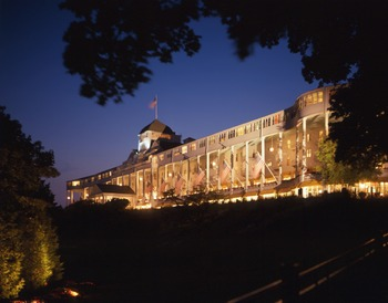 Night view of Grand Hotel.