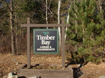 Timber Bay Lodge & Houseboats sign.