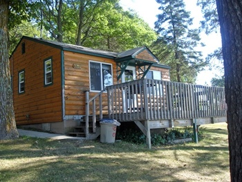 Cabin exterior at Moonlight Bay Resort.