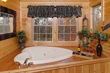 Cabin rental bathroom at Timber Tops Rentals.