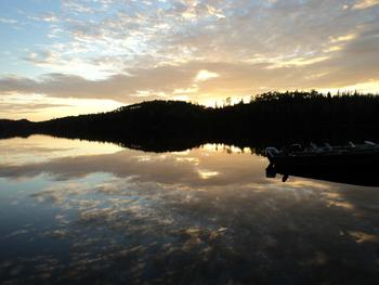 Sunrise on the lake at Loon Lake Lodge.