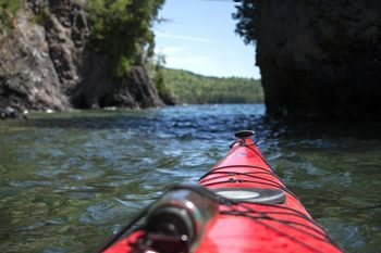Kayaking at Aqua Log Cabin Resort.