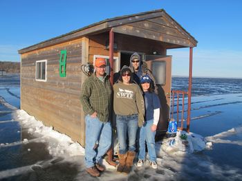 Ice fishing at Twin Pines Resort.