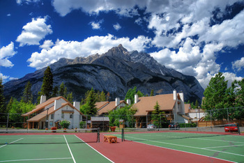 Tennis courts at Banff Rocky Mountain Resort.