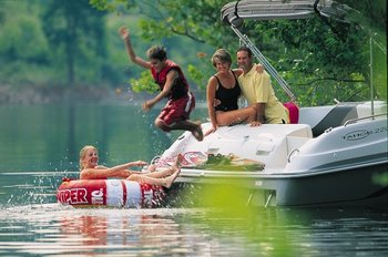 Jump into the lake at Big Cedar Lodge.