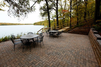 Outside patio with lake view at East Silent Lake Vacation Homes.