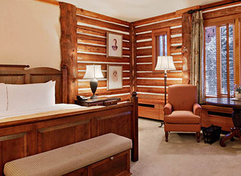 Guest bedroom at The Fairmont Jasper Park Lodge.