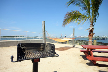 Beach picnic area at Oceanic Motel Ocean City.