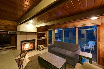 Guest living room at Douglas Fir Resort & Chalets.