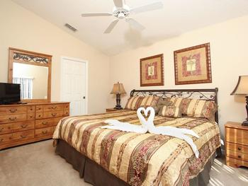 Vacation rental bedroom at SkyRun Vacation Rentals - Orlando, Florida.