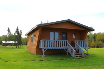 Cabin exterior at Angle Outpost Resort & Conference Center.