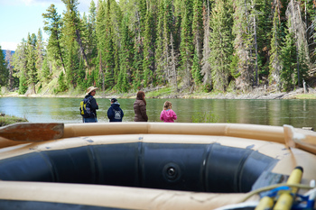 Family rafting at Jackson Lake Lodge.
