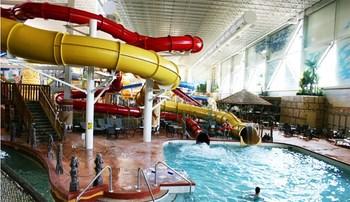 Indoor waterpark at Kalahari Waterpark Resort Convention Center.