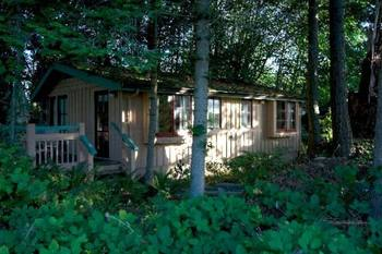 Cabin exterior at Painter's Lodge.