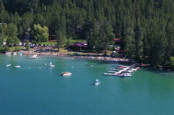 Aerial view of Lake Five Resort.