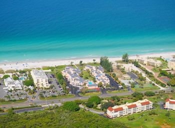 Aerial view of Sand Cay Beach Resort.