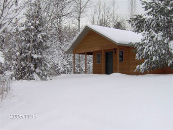 Winter time cottages at Woodside Cottages of Bayfield.