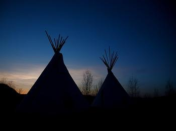 Tipis at The Wilderness Way Adventure Resort.