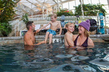 Family swimming at Crystal Springs Resort.