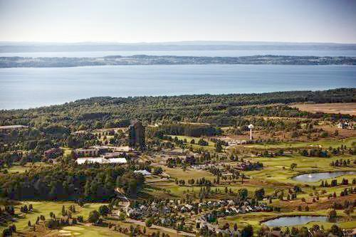 Aerial view of Grand Traverse Resort & Spa.