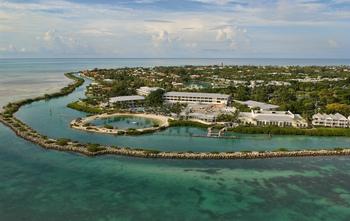 Aerial view of Hawks Cay Resort.