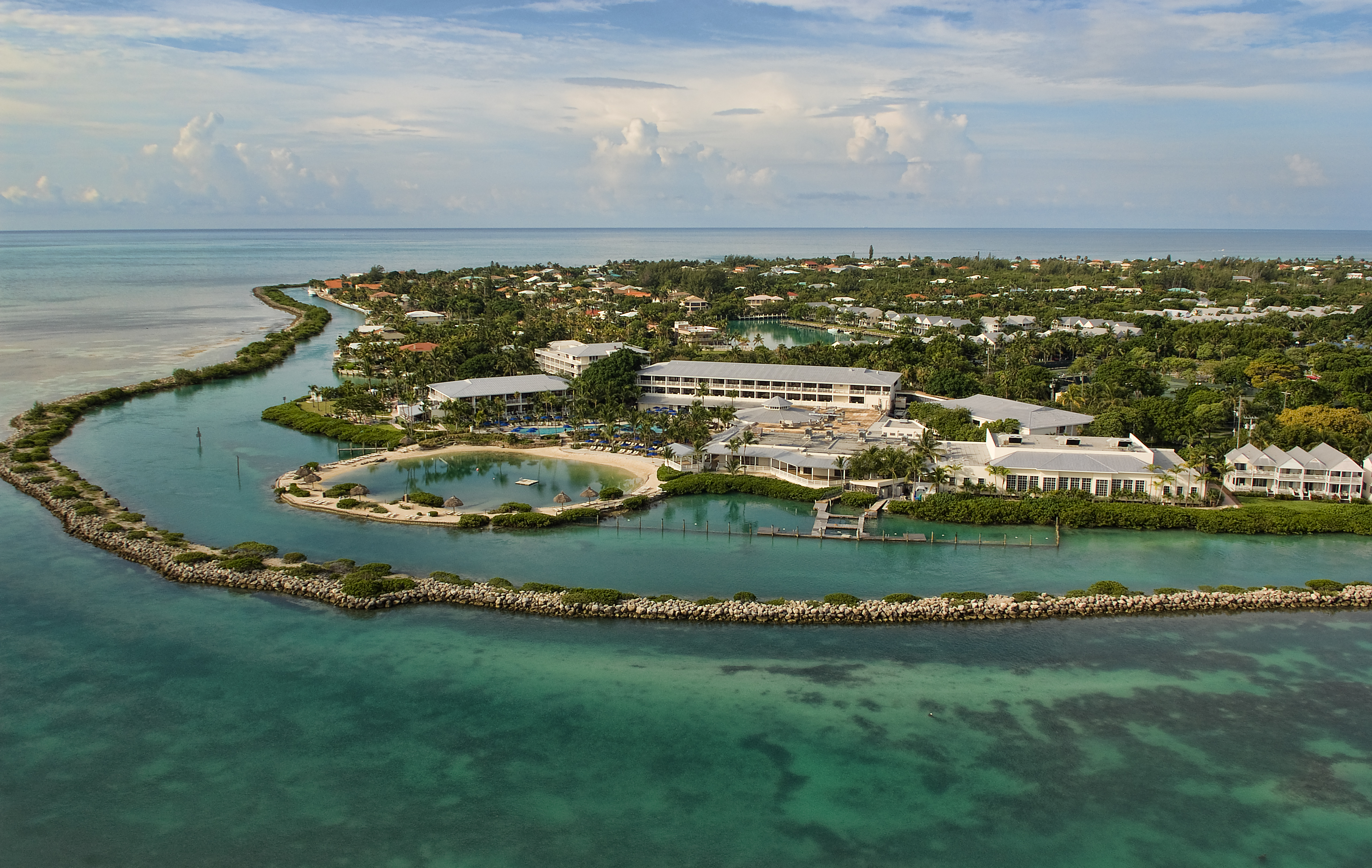 Aerial view of Hawks Cay Resort.
