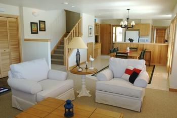 Rental living room at Shorepine Vacation Rentals.