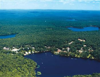 Aerial view of Woodloch Resort.