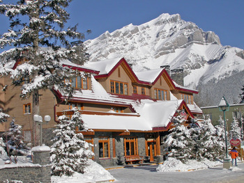 Exterior winter view at Banff Ptarmigan Inn.