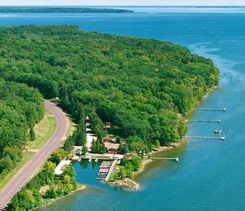 Aerial view of Brindley's Harbor Resort.