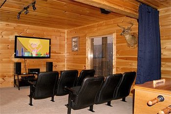 Cabin rental theater at Timber Tops Rentals.
