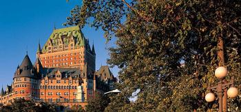 Fairmont Le Chateau Frontenac exterior looks like a castle.